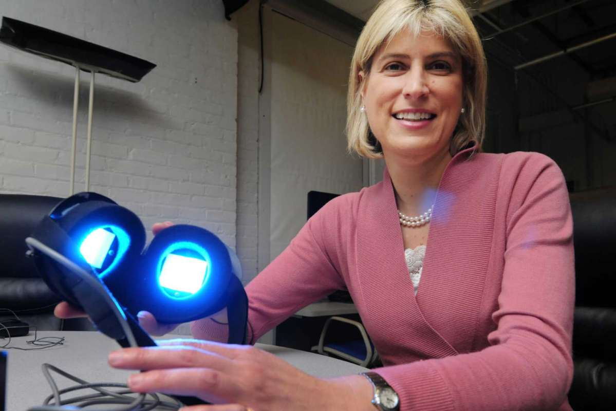 Lighting Research Center Director Mariana Figueiro testing the use of 480 nanometer light to help older adults get better sleep.